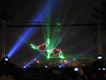 Espectáculos de pirotecnia com água ou laser